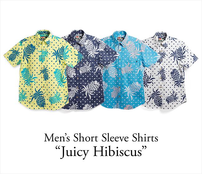 メンズアロハシャツ(ボタンダウンシャツ)/Juicy Hibiscus