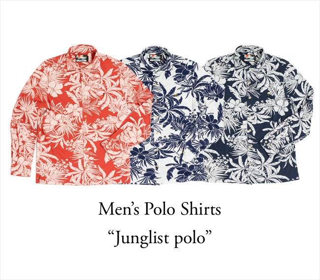Mens long sleeve Polo Shirt Junglist polo