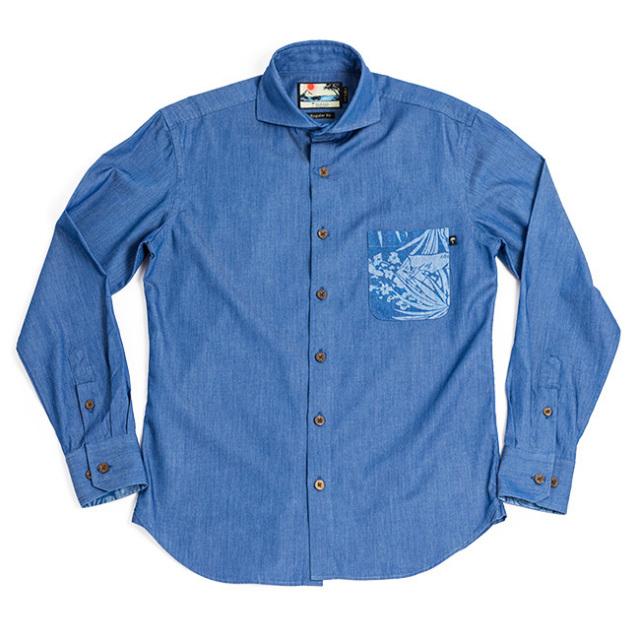メンズアロハシャツ長袖/Junglist blue