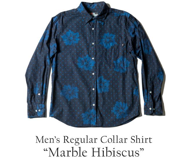 PAIKAJIアロハシャツ メンズアロハシャツ長袖/Marble Hibiscus