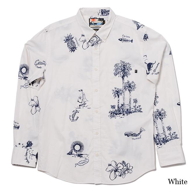 PAIKAJIアロハシャツ メンズ長袖ボタンダウンカラーシャツ / Venus Island