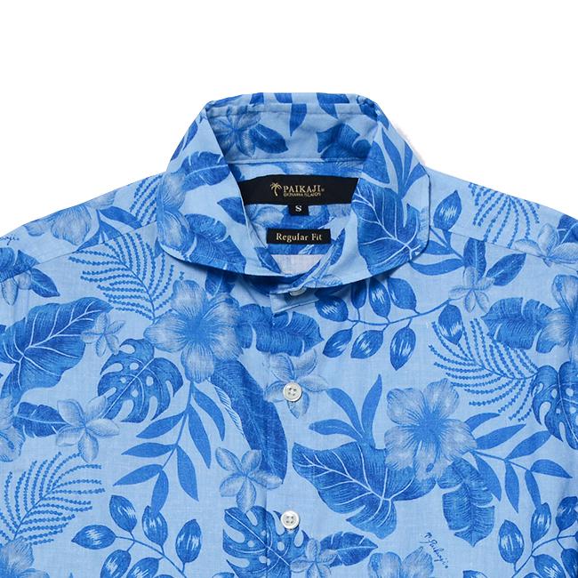 PAIKAJIアロハシャツ メンズ長袖ホリゾンタルカラーシャツ / Misty Flowers